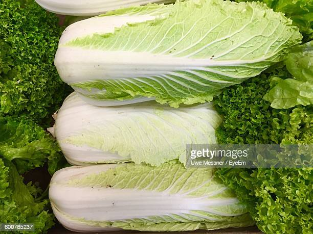 High Angle View Of Chinese Cabbage For Sale At Market