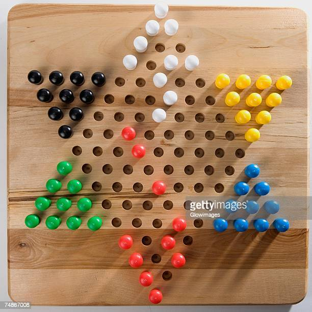 High angle view of Chinese checkers