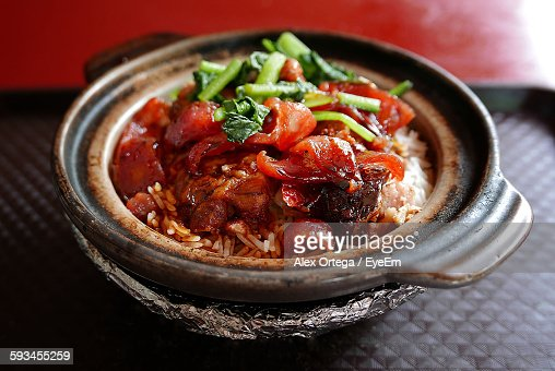 High Angle View Of Chinese Sausage Served In Bowl