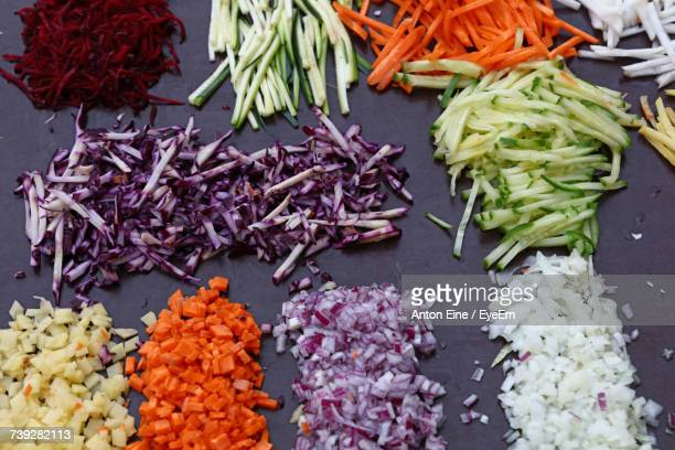 High Angle View Of Chopped Vegetables Arranged At Counter