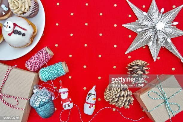 High angle view of Christmas decor