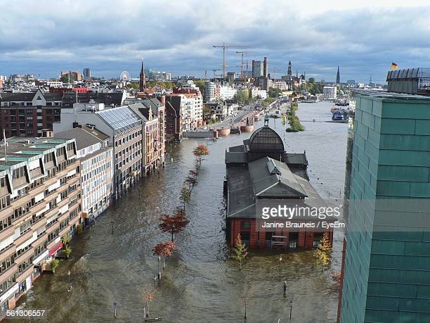 High Angle View Of City During Floods Against Sky