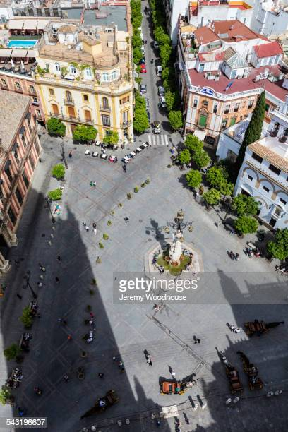 High angle view of city square in Seville, Andalusia, Spain