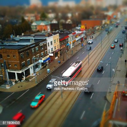High Angle View Of City Street And Buildings Stock Photo Getty