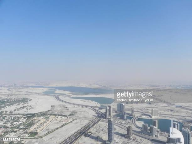High Angle View Of Cityscape Against Clear Sky During Winter