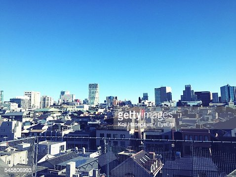 High Angle View Of Cityscape In Harajuku Against Clear Blue Sky