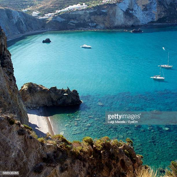 High Angle View Of Cliffs By Sea At Ponza Island