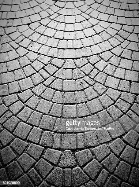 High Angle View Of Cobblestones At Street