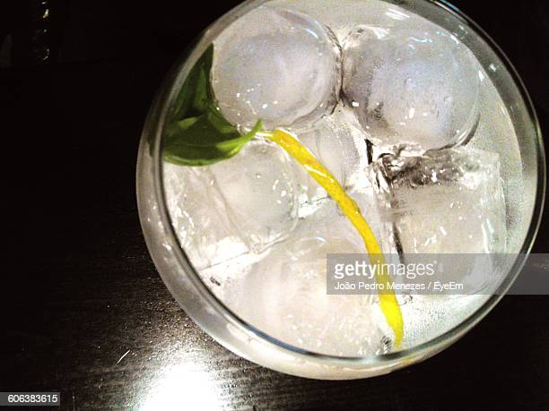 High Angle View Of Cocktail On Table