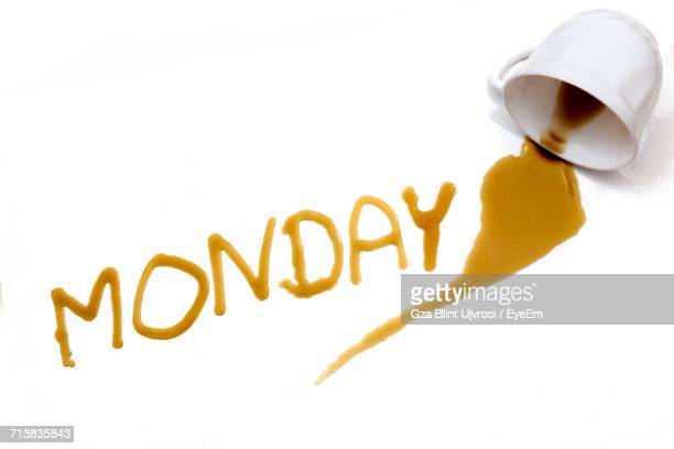 High Angle View Of Coffee Forming Monday Text On White Background