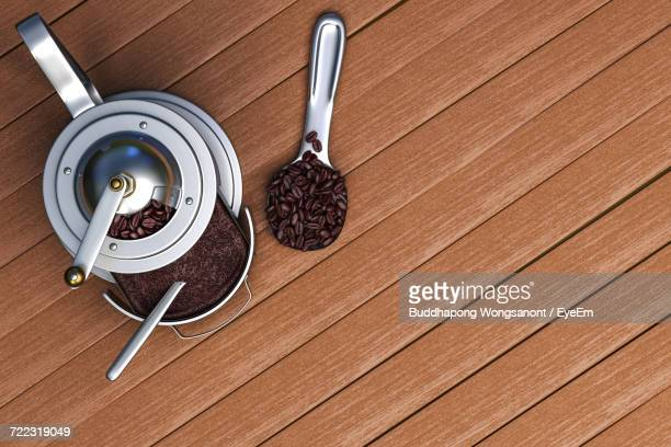High Angle View Of Coffee Grinder