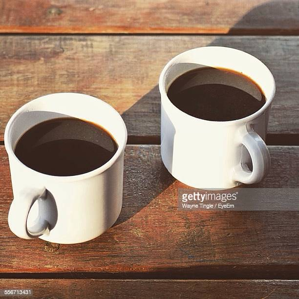 High Angle View Of Coffee Served On Table
