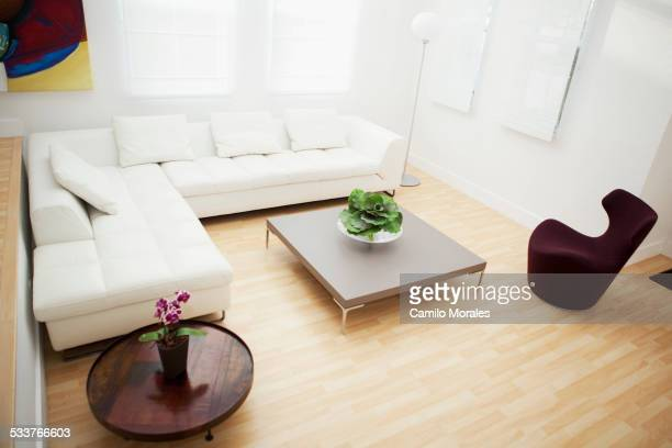 High angle view of coffee tables and sofas in modern living room