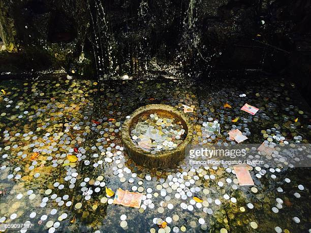 High Angle View Of Coins And Bill In Pond