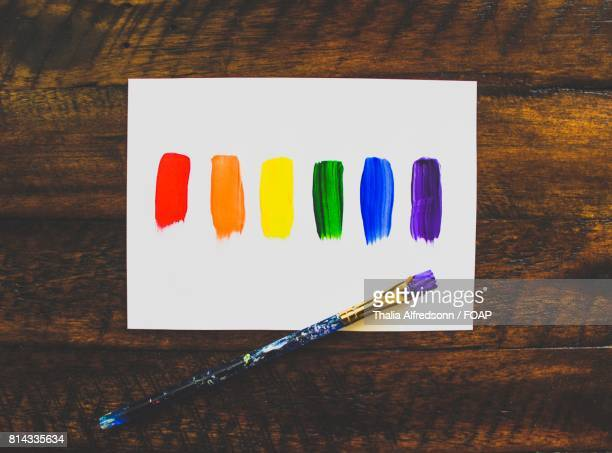 High angle view of colored paper and brush