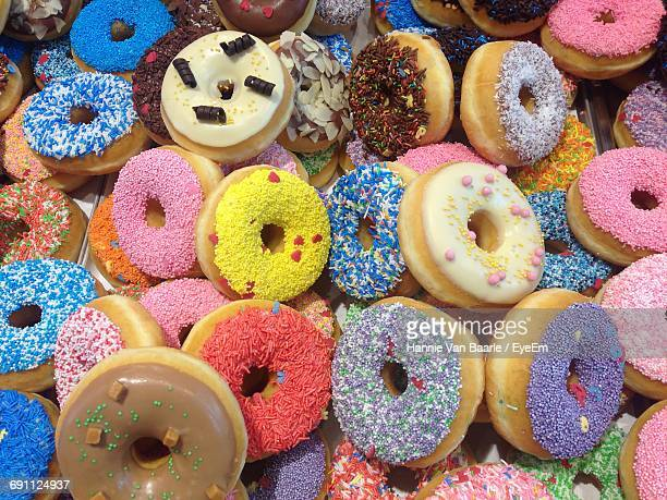 High Angle View Of Colorful Donuts For Sale In Store