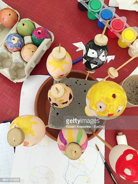 High Angle View Of Colorful Easter Eggs On Table