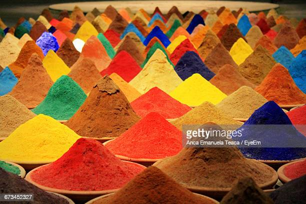 High Angle View Of Colorful Powder Paints At Market Stall