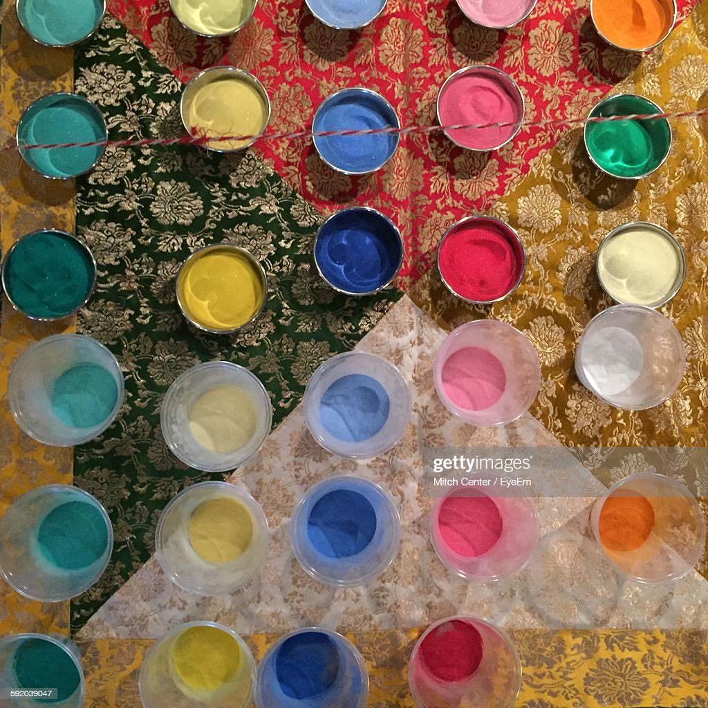 High Angle View Of Colors In Bowl On Table