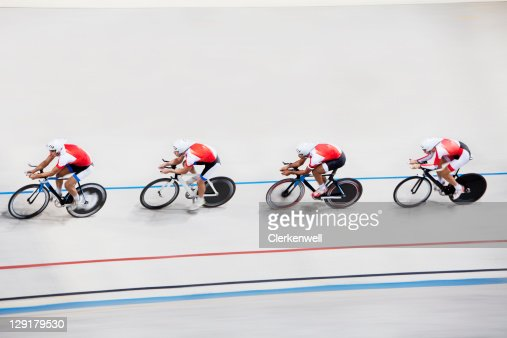 High angle view of competitors in bicycle race