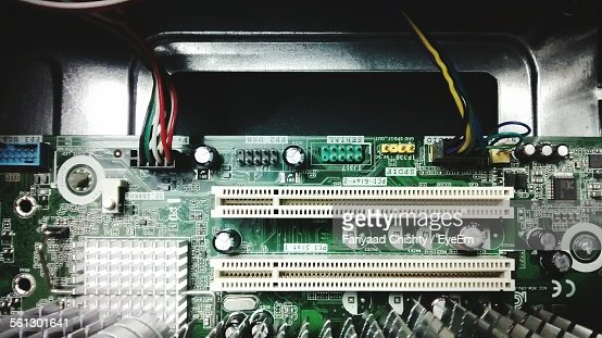High Angle View Of Computer Mother Board