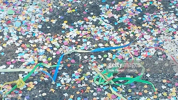 High Angle View Of Confetti On Street