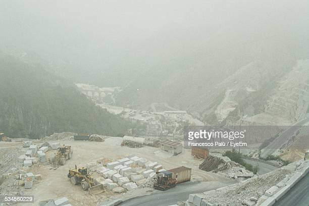 High Angle View of Construction Site In Valley