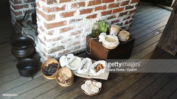 High Angle View Of Containers And Seeds And Bottles In Mayflower Ii
