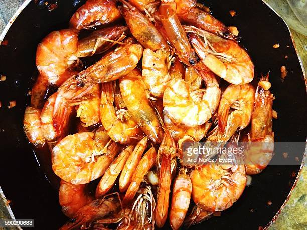 High Angle View Of Cooked Shrimps In Pan