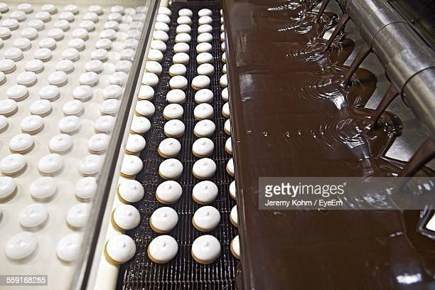 High Angle View Of Cookies Preparing In Factory
