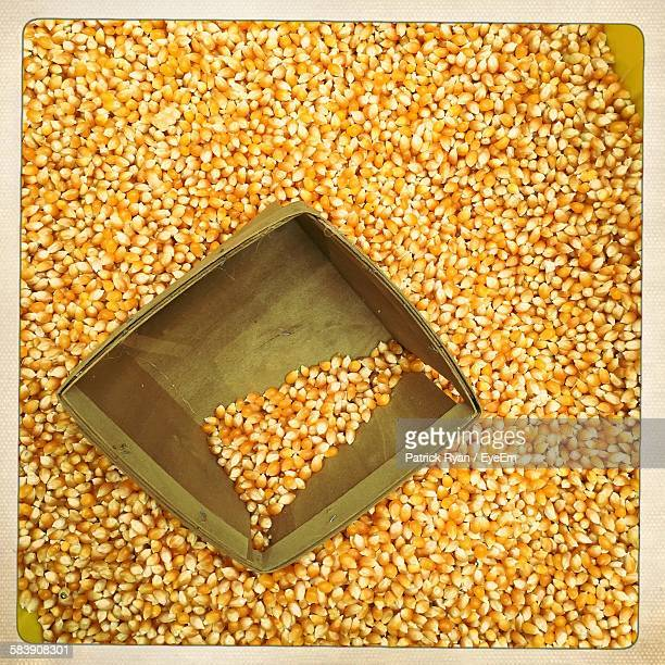 High Angle View Of Corn Kernels At Shop