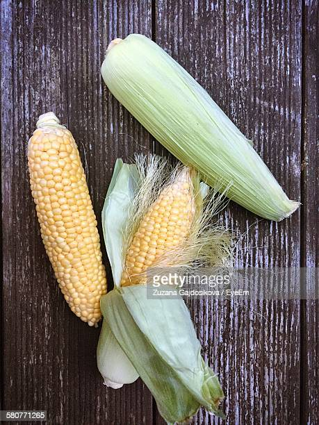 High Angle View Of Corns On Table