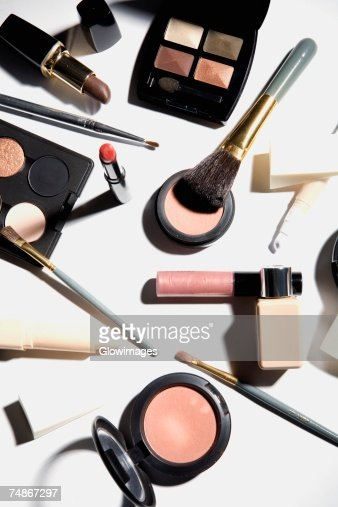 High angle view of cosmetics