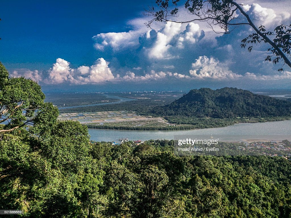 High angle view of countryside lake along landscape