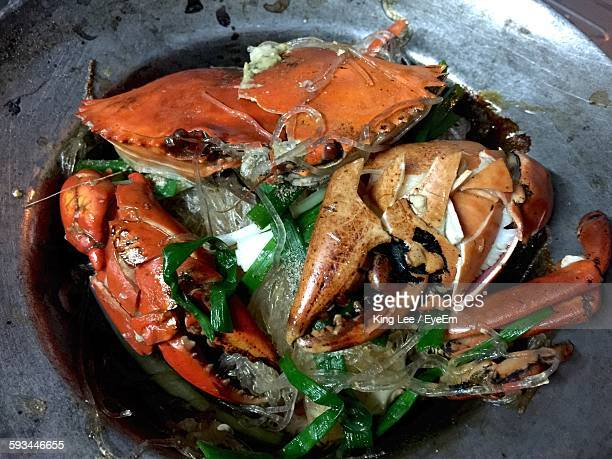 High Angle View Of Crab Served In Plate