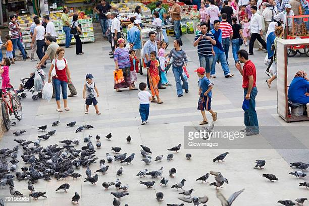 High angle view of crowd in a market, Istanbul, Turkey
