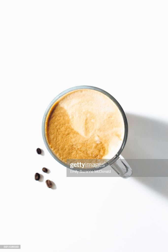 High angle view of cup of coffee : Stock Photo