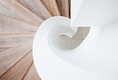 High angle view of curving staircase