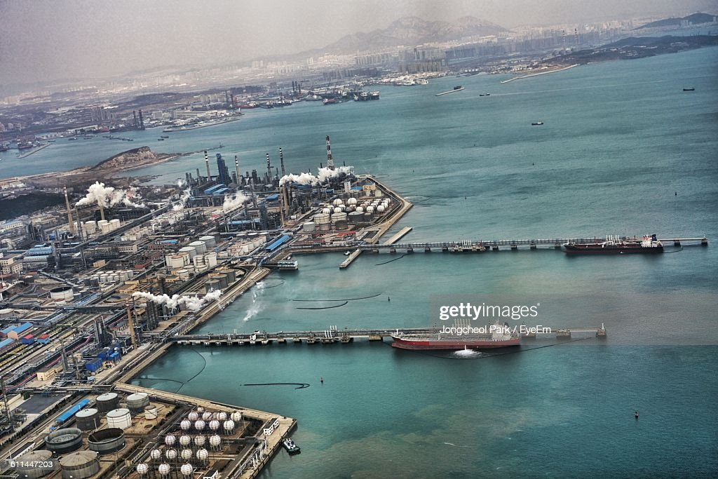 High Angle View Of Dalian Port