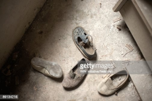 High angle view of damaged shoes, Prypiat, Ukraine