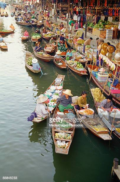 High angle view of Damnoen Saduak Floating Market, Bangkok, Thailand