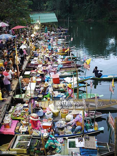 High Angle View Of Damnoen Saduak Floating Market