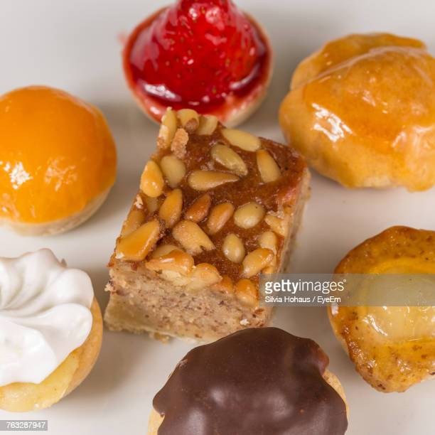 High Angle View Of Desserts Served In Plate