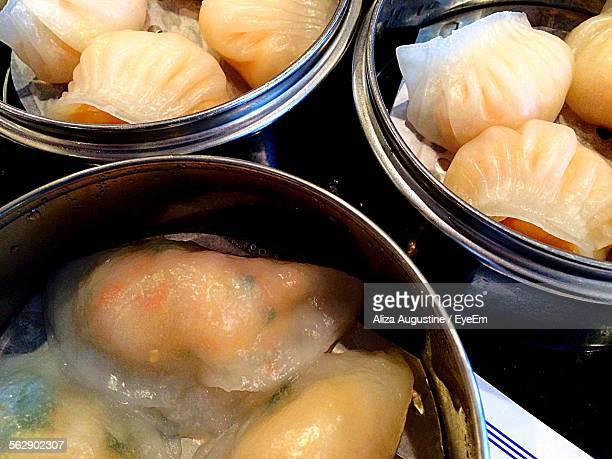 High Angle View Of Dim Sum Served In Container