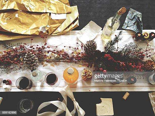 High Angle View Of Dining Table Decorated During Christmas