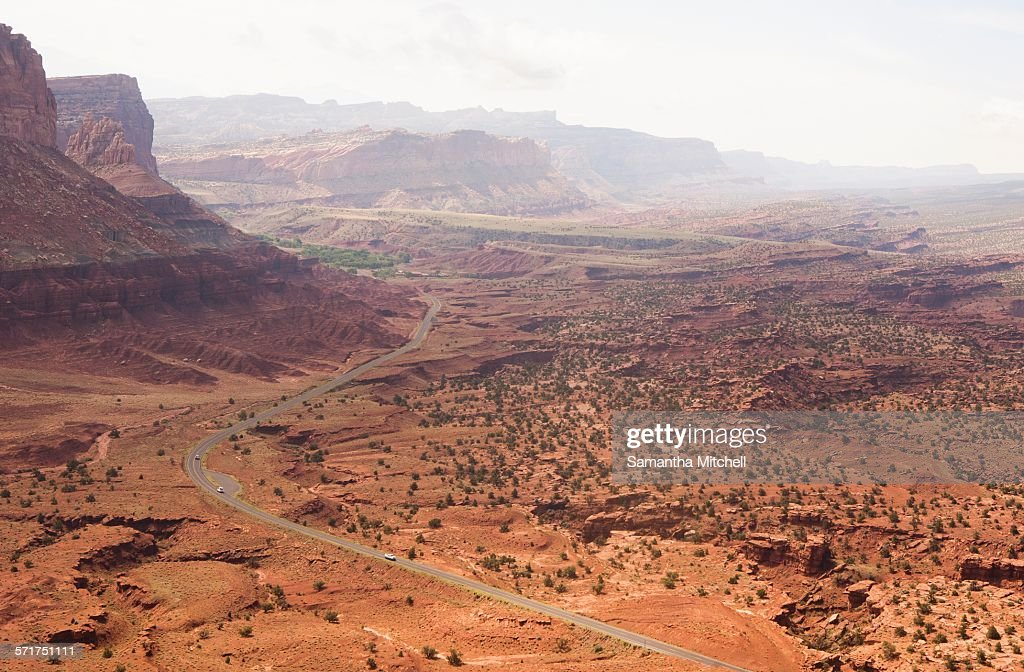 High angle view of distant rural road in valley,  Capitol Reef National Park, Torrey, Utah, USA