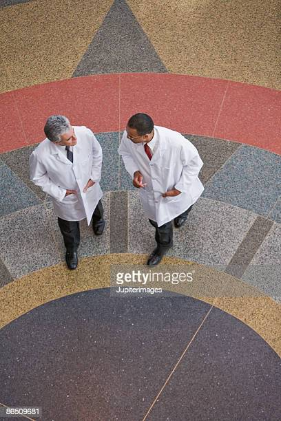 High angle view of doctors
