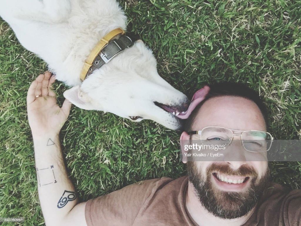 High Angle View Of Dog Licking Happy Man While Lying On Grass In Yard : Stock Photo