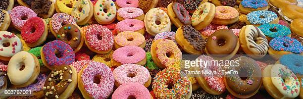 High Angle View Of Donuts On Table