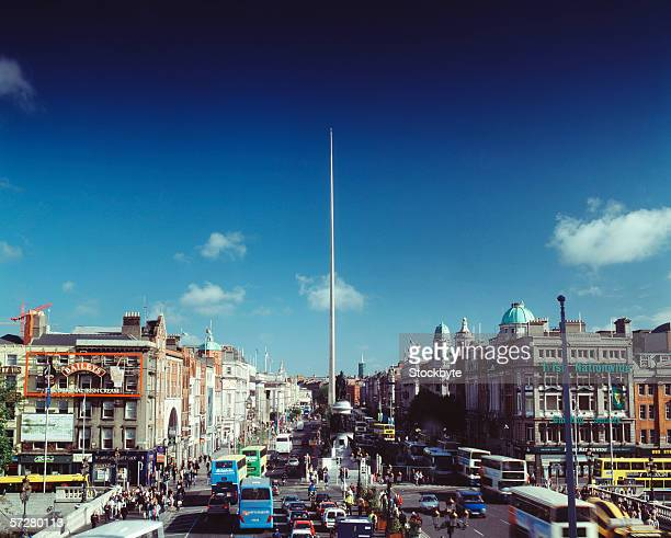 High angle view of Dublin with the Dublin spire in the background
